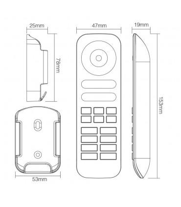 Mi-Light 8-zone RGB+CCT remote controller FUT089 - size