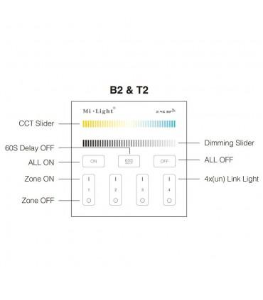 Mi-Light 4-zone CCT adjust smart panel remote controller T2 - functions