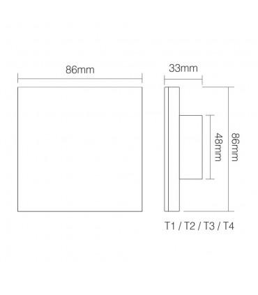 Mi-Light 4-zone RGB/RGBW smart panel remote controller T3 - size