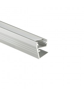 TOPMET anodised aluminium LED profile EDGE10 BC silver milky diffuser glass application