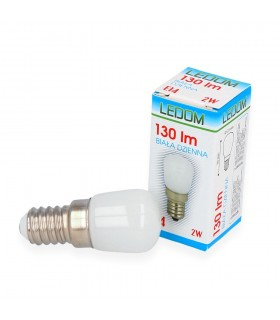 LEDOM E14 light bulb 230V 2W 130lm daylight 4000K. The small size (23 width x 50 length mm) allows for use in hoods, ref