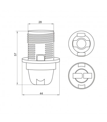 POLMARKE14 lamp holder with shade ring -  size