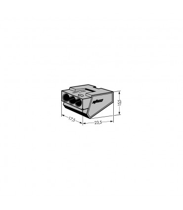 WAGO 273-403 3-way push-wire connector for junction boxes 32A.PUSH WIRE® connector for junction boxes; 3-conductor term