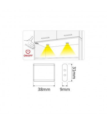 DESIGN LIGHT LED switch MOVE IR - size