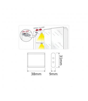 DESIGN LIGHT LED switch DOOR - size