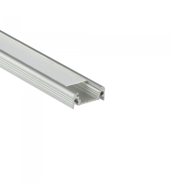 TOPMET anodised aluminium LED profile SURFACE10 BC/UX silver milky diffuser