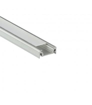 TOPMET anodised aluminium LED profile SURFACE10 BC/UX silver milky diffuser