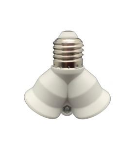 LED line® E27-2xE27 lamp socket converter.Bulb adapter E27 to 2xE27 enables the use of two bulbs with E27 thread (eg LE