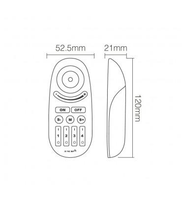 Mi-Light 2.4GHz 4-zone RGBW remote control with button FUT095 - size