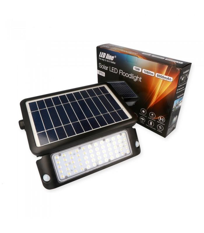 LED line® solar LED floodlight SMD 10W neutral white IP65.Solar LED luminaire using free ecological solar energy emits