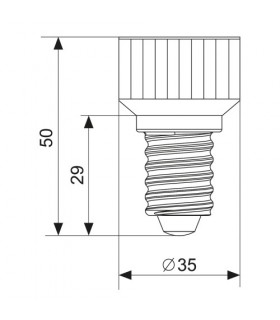 MAX-LED E14-GU10 lamp socket converter - size