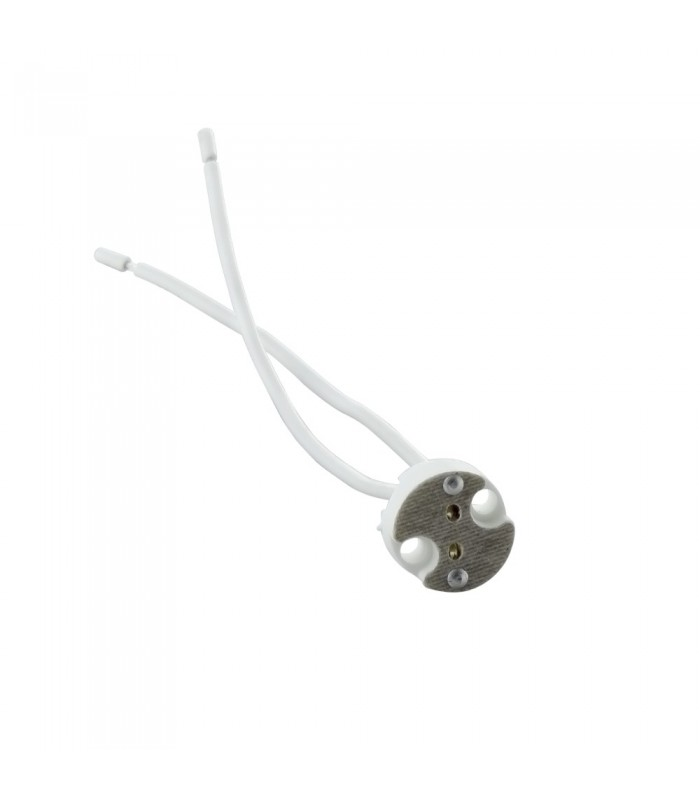 MR16 ceramic lamp holder for LED or halogen bulbs that allows the use of MR16 standard light sources. -