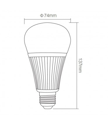 Mi-Light 9W RGB+CCT LED light bulb FUT012 - size