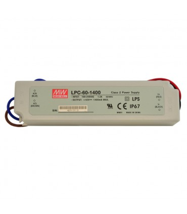 Mean Well LPC-60-1400 LED power supply 9~42V 1400MA 60W IP67 -