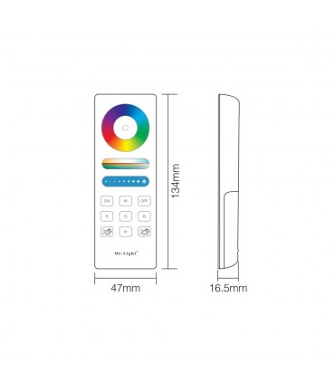 Mi-Light RGB+CCT full touch remote controller FUT088 - size