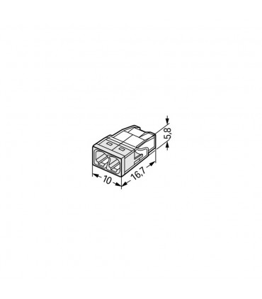 WAGO 2273-202 2-way push wire connector 24A - size