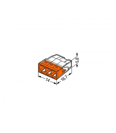 WAGO 2273-203 3-way push wire connector 24A - size