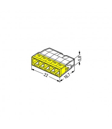 WAGO 2273-205 5-way push wire connector 24A - size