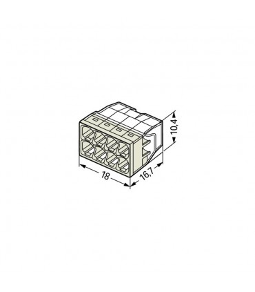WAGO 2273-208 8-way push wire connector 24A - size