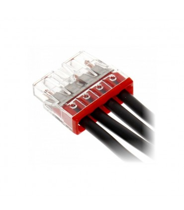 WAGO 2273-204 4-way push wire connector 24A.COMPACT PUSH WIRE® connector for junction boxes; 4-conductor terminal block