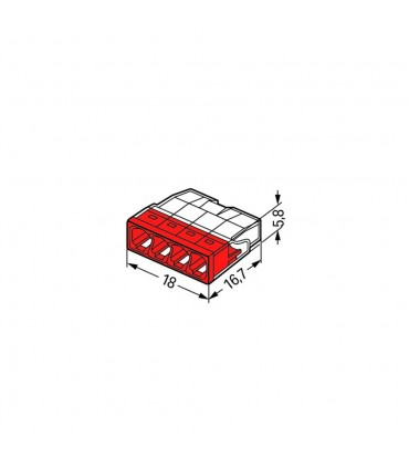 WAGO 2273-204 4-way push wire connector 24A - size