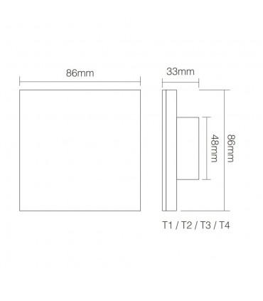 Mi-Light 4-zone RGB+CCT smart panel remote controller T4 - size