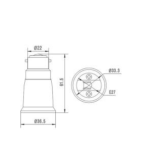 LED line® B22-E27 lamp socket converter. Bulb adapter (adapter) B22> E27 enables the use of a bulb with E27 thread (