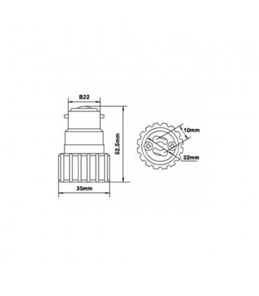 LED line® B22-GU10 lamp socket converter - size