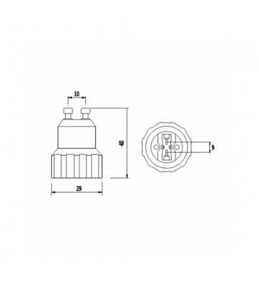 LED line® GU10-G9 lamp socket converter - size