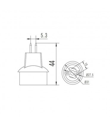 LED line® MR16-GU10 lamp socket converter - size