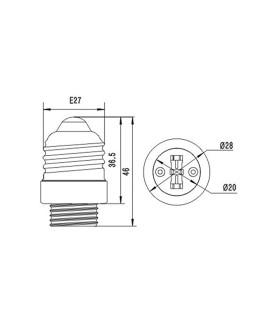 MAX-LED E27-G9 lamp socket converter - size