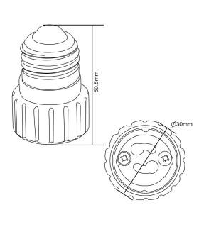 MAX-LED E27-GU10 lamp socket converter - size