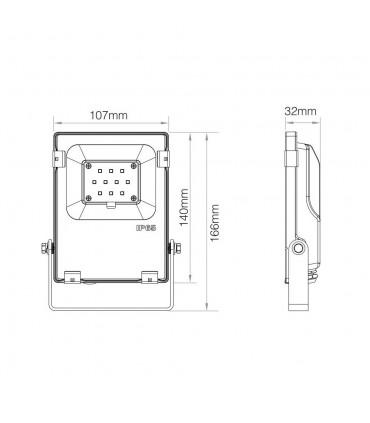 Mi-Light 10W RGB+CCT LED floodlight 24V DC FUTT06 - size