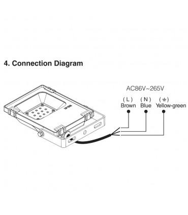 Mi-Light 10W RGB+CCT LED floodlight FUTT05 - connection diagram