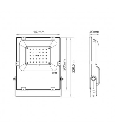 Mi-Light 30W RGB+CCT LED floodlight FUTT03 - size