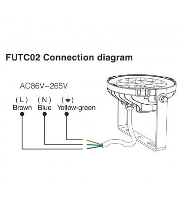 Mi-Light 9W RGB+CCT LED garden light FUTC02 - connection diagram