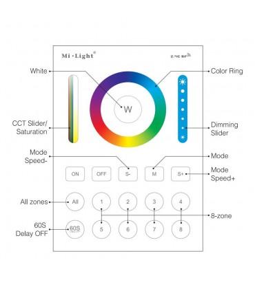 Mi-Light 8-zone smart panel remote controller B8 - functions