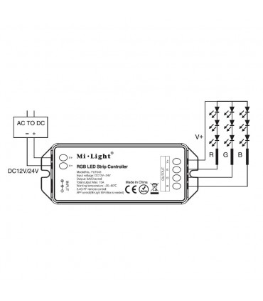 Mi-Light RGB LED strip controller FUT043 - connection diagram