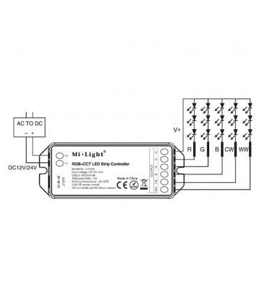 Mi-Light RGB+CCT LED strip controller FUT045 - connetion