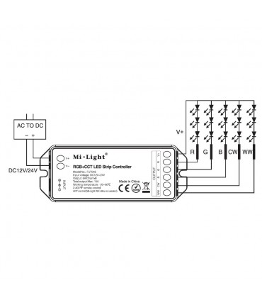 Mi-Light RGB+CCT smart LED control system FUT045A - receiver connection