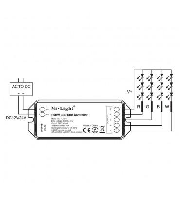 Mi-Light RGBW smart LED control system FUT044A - receiver connection