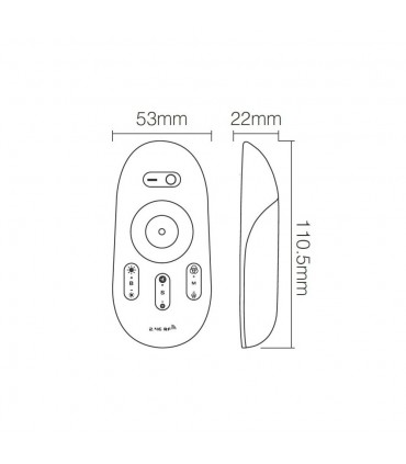Mi-Light 2.4GHz touch RGBW LED strip controller FUT027 - transmitter size