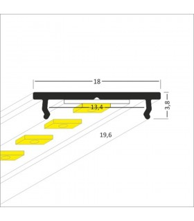 TOPMET raw aluminium LED profile FIX12 silver dimensions
