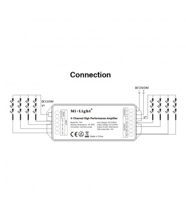 Mi-Light 4-channel high-performance amplifier PA4 - connection