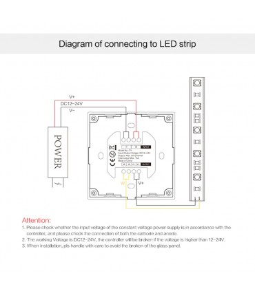Mi-Light smart panel controller brightness P1 - connections