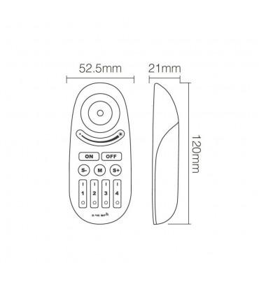 Mi-Light 2.4GHz manual & auto adjustable RGBW strip controller FUT028 - remote size