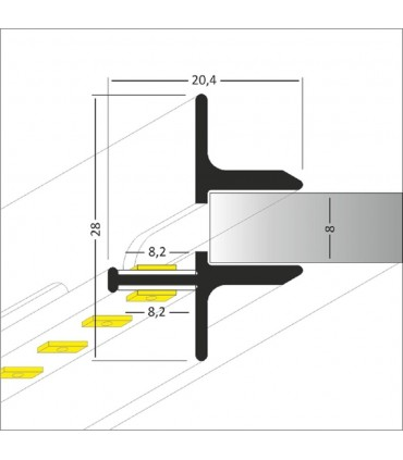TOPMET raw aluminium glass LED profile TWIN8 silver size