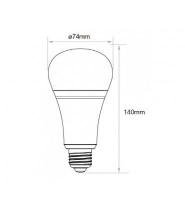 Mi-Light 12W RGB+CCT LED light bulb FUT105 - size