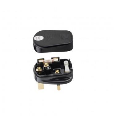 3 pin plug with fuse black 13amp