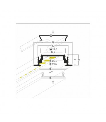TOPMET anodised aluminium LED profile GROOVE14 EFTY silver - size